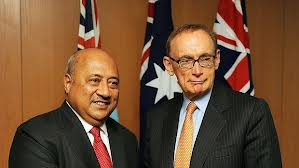 Australian Foreign Minister Bob Carr with his Fijian counterpart Ratu Inoke Kubuabola (Photo:Fairfax Media)