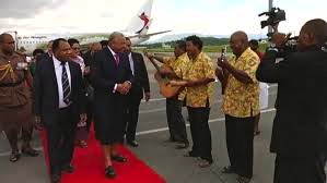 An outstanding success: Voreqe Bainimarama arrives in Port Moresby (Photo:ABC)