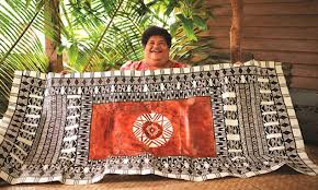 Makareta Matamosi and her celebrated design for the national airline (Photo:Fiji Airways)