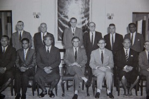 Doug Brown (centre) behind the then Governor, Sir Derek Jakeway, in Ratu Mara's Council of Ministers in 1967