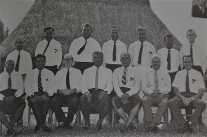 Doug Brown, sitting far right, in Ratu Sir Kamisese Mara's first post-independence cabinet in 1972.