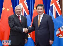 Fiji Prime Minister Voreqe Bainimarama and Chinese President Xi Jinping